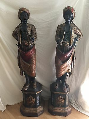 "2 Antique Blackamoor Statues Hand Carved & Painted Wooden Mirror Images 71.5""h"