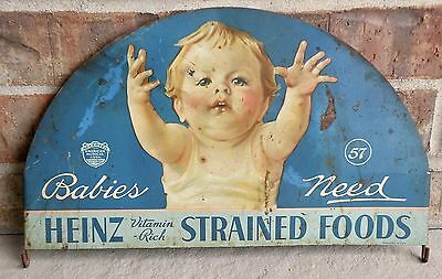 Rare Heinz 57 Babies Need Heinz Vitamin Rich Strained Foods Tin Litho Sign