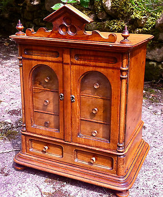 Victorian Miniature  Walnut Table Cabinet/Chest  with Beveled Glass Doors