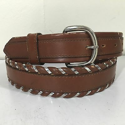 NOS Vtg Circle Y Boys Brown SILVER LACED Cowboy Western Leather RODEO Belt 26-28