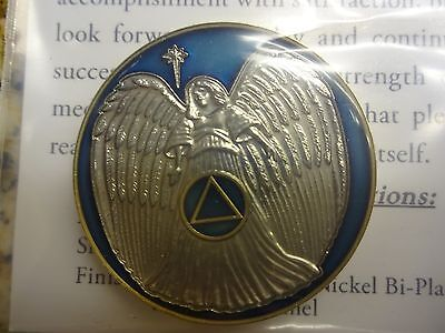 AA Alcoholics Anonymous Blue/Gold Angel Tri-Plate Coin Token Medallion Chip