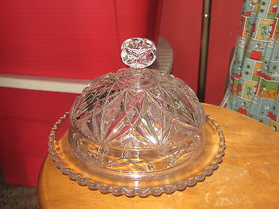 Vintage Clear Depression Glass Round Butter Dish Dome Cover