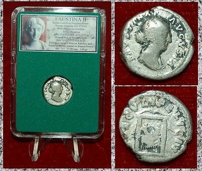Ancient Roman Empire Coin Of FAUSTINA II Two Sons Of Marcus Aurelius Denarius