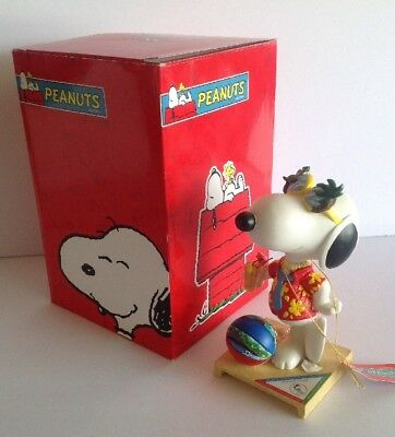NIB Stay Cool Snoopy Westland Figurine Hawaiian Shirt Puka Shells Cocktail 18245