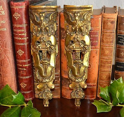 Rare Antique Pair French Bronze Ormolu Pediments Winged Griffin Gargoyle