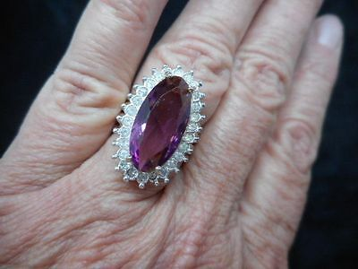 Authentic Vintage Gold Tone Faux Amethyst and Rhinestone Ring Sz 6