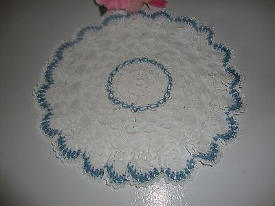 """New Hand Crochet   White    Country Blue  Doily 10"""""""