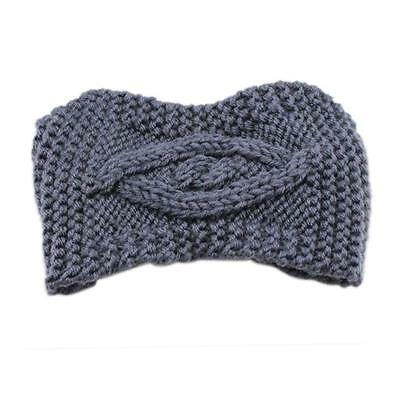 Gray Cable Knit Boho Earwarmer Thick Winter Headband Knitted Tan Diamond Cable
