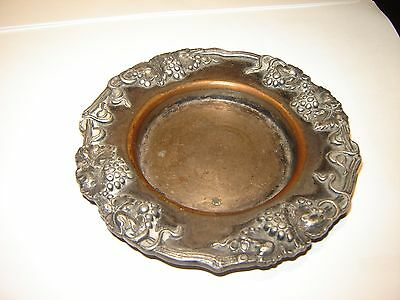 Antique English Silver Plate on Copper Grapes & Leaves Wine Champagne Coaster
