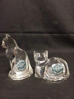 LENOX Fine Crystal GERMANY Cat Salt & Pepper shakers w/ sticker