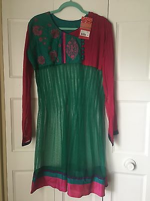 NWT Indian Kurta Kurti Kameez Ethnic Top And Pants Tunic Teal Pink Size Medium