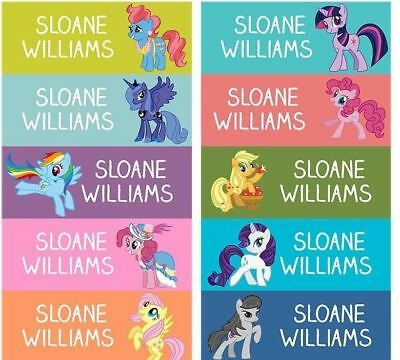 60 Personalized kid Name back to school Stickers my little pony rainbow dash
