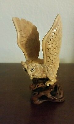 antique bovine bone carved netsuke  owl on wood stand 3 1/2 inches