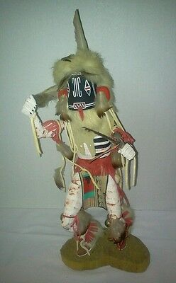 """13"""" Tall Navajo Left Handed Kachina Doll Signed Yazzie Beautiful"""