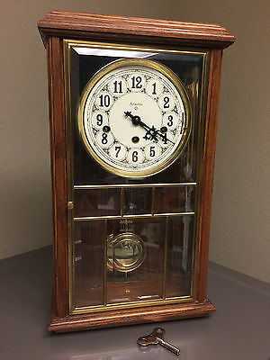 Vintage Ansonia Gold Medallion Triple Chime Mantle Clock #681 With Key