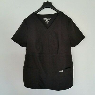 Womens Grey's Anatomy Barco Black 2XL 3 pocket mock wrap scrub top Style #4153