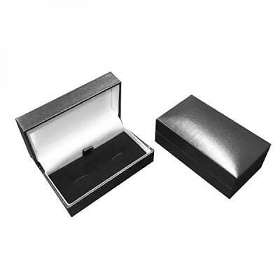 Bulk Buy Black Leatherette Cufflinks Box - 12 Presentation Boxes with Hinged Lid