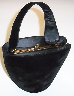 Adorable Vintage Ingber Black Velvet 1940's Handbag Evening Purse - Unique