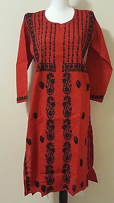USA SELLER NWT Indian Women Top Tunic Kurti Kurta Blouse Lucknowi 38 40 M Medium