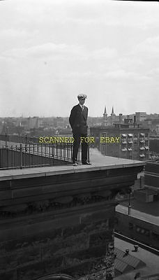 1920s Man on Old Building New York City ORIGINAL PHOTO NEGATIVE