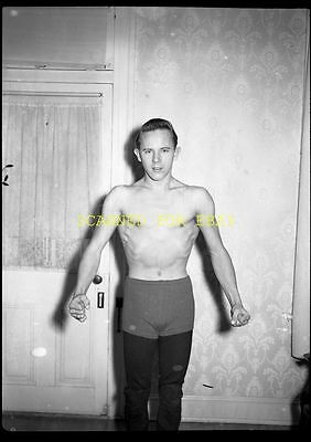 1940s Young Man Flexing Muscles Wrestler ORIGINAL PHOTO NEGATIVE