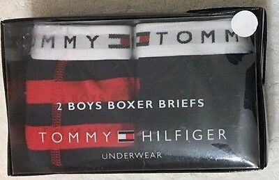 Tommy Hilfiger Boy's 2-Boxer Briefs  Large 12-14   Red / Navy   (1395)
