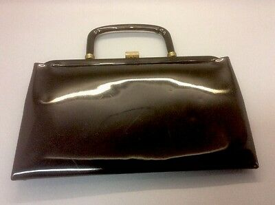 Vintage 1950's Garay Black Vinyl Purse Bag Evening bag