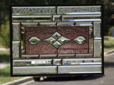 """•Relaxing Lavender •Beveled Stained Glass Window Panel • 20 ¾""""x15 ¾"""" (52.5x40cm)"""