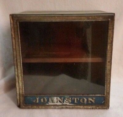 Vintage Johnston Biscuit Co Cookies Glass- Metal-Wood Store Display ~Nice!