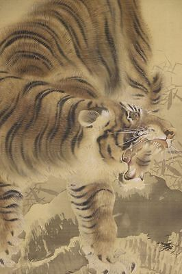 """JAPANESE HANGING SCROLL ART Painting """"Tiger"""" Asian antique  #E6619"""
