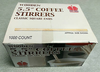 "Goldmax Poly King Wood Wooden Coffee Stirrers, 5.5"" Long - 1000 Stirrers/Box"
