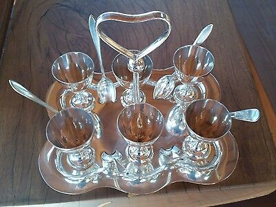 Silverplate Fairfax&Roberts 6Piece Setting Egg Holder Tray Cruet Cups Spoons
