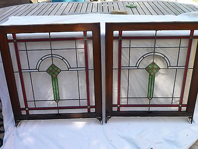 "2 Antique 1920s Chicago Bungalow Stained Leaded Glass Windows 32.5"" by 28"""