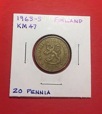 "Finland 1963 Coin with ""S"" Mint Mark, 20 Pennia"