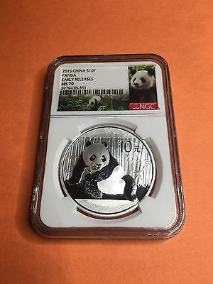 2015 China Silver Panda (1 oz) 10 Yuan - NGC MS70 - Early Releases Panda