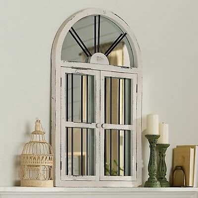 RUSTIC VINTAGE DISTRESSED Cathedral Arched Windowpane Wood ...