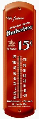 Budweiser 15 Cents In Bottles,Anheuser Bush,Metal Thermometer,Sealed->Free To US