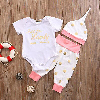 US Newborn Toddler Baby Girls Clothes Romper Top+Pants 3PCS Outfit Set 3-6M LX01