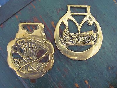 (2) Vintage Horse Harness Bridle Medallions, Agriculture Theme