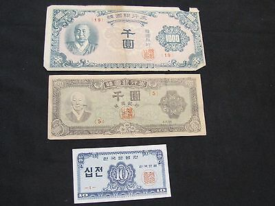 Lot of 3 Korea Notes - 1952-53 1000 Won, 1950 1000 Won, 1962 10 Jeon