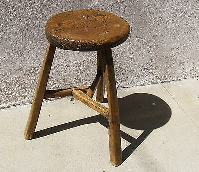 Antique Chinese three legged wood stool - primitive bench
