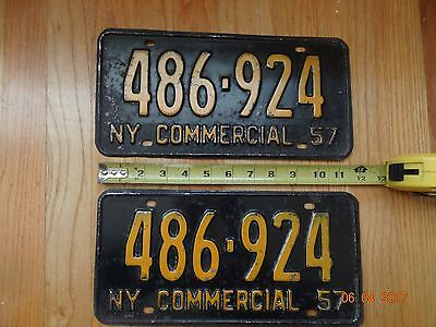 1957 New York License Plate Pair Commercial 486 924