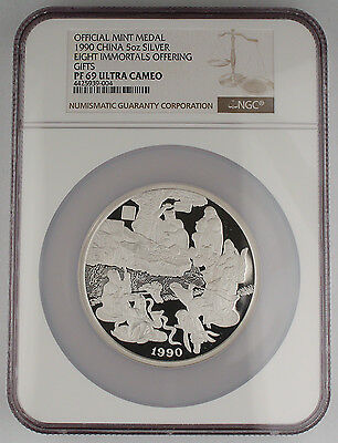 "China 1990 5 Oz Silver Coin Medal ""Eight Immortals Offering Gifts"" NGC PF69 +COA"