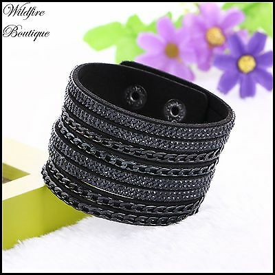 Multi-Strand Faux Leather Suede Bangle Bracelet w/ Chains Crystals & Press Studs