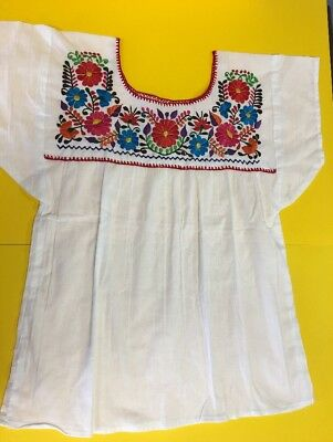 Women Peasant Mexican Embroidered Blouse -Hand Made -New