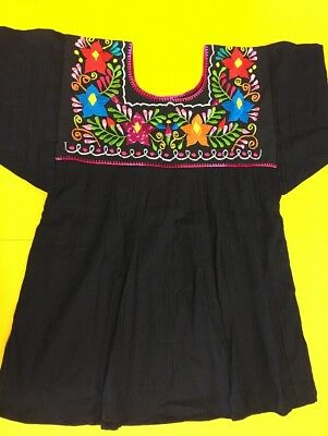 Women Peasant Mexican Embroidered Blouse -Hand Made -Black/Fuchsia