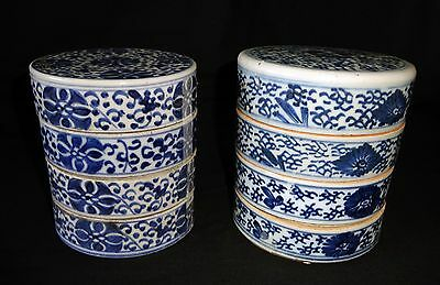 2x19C Chinese B & W Floral Motif 4x Tier Porcelain Stacking Food Boxes (Drc)