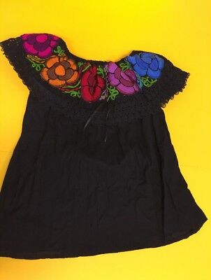 Women Peasant Mexican Embroidered Ruffle Blouse -Hand Made -Navy