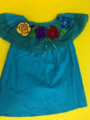 Women Peasant Mexican Embroidered Ruffle Blouse -Hand Made -Turquoise