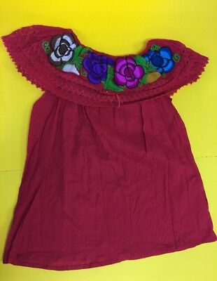 Women Peasant Mexican Embroidered Ruffle Blouse -Hand Made -Red